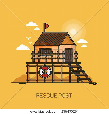 Safety Building At Beach, Rescue Post With Flag, Safety Building At Coast Or Shore, Life Saving Stat