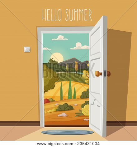 Open Door. Valley Landscape. Cartoon Vector Illustration. Vintage Poster. Welcome To Real World. Ret