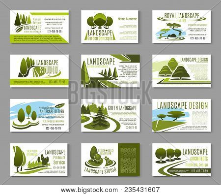 Landscape Design Studio Business Card For Landscaping, Gardening And Lawn Care Service Template. Gre