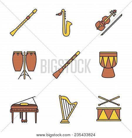 Musical Instruments Color Icons Set. Flute, Saxophone, Violin, Conga, Didgeridoo, Kendang, Piano, Ha