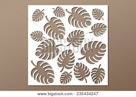 Decorative Panel Laser Cutting. Wooden Panel. Elegant Modern Monstera Pattern. Tree Leave. Stencil.