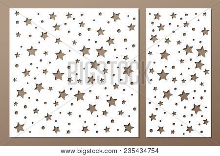 Set Decorative Panel Laser Cutting. Wooden Panel. Elegant Modern Geometric Abstract Holiday Pattern.
