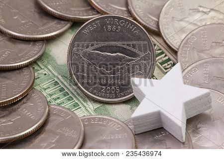 A Quarter Of West Virginia, Quarters Of Usa And White Star. A Circle Of The Us Quarters With George