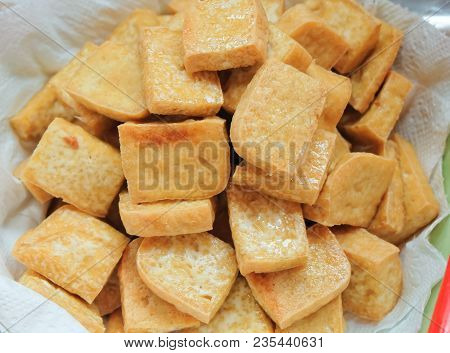 Cuisine And Food, Chinese Deep Fried Tofu Or Fried Bean Curd Usually Served With Sweet And Sour Spic