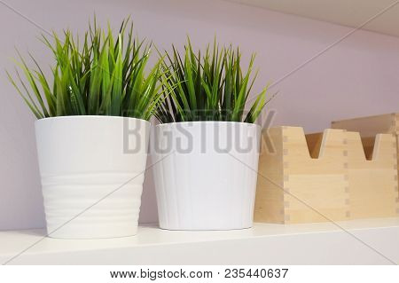 Artificial Green Plant Or Artificial Grass In Ceramic Pots With Wooden Storage Box, For Home And Off
