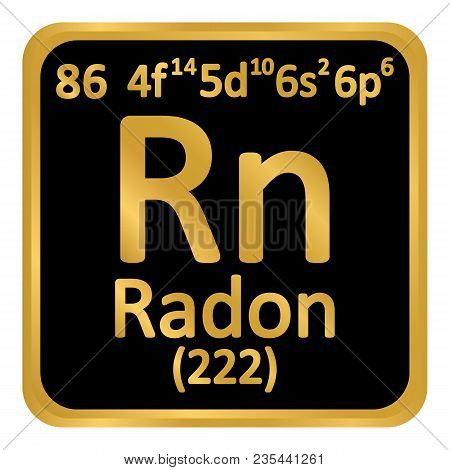 Periodic Table Element Radon Icon On White Background. Vector Illustration.