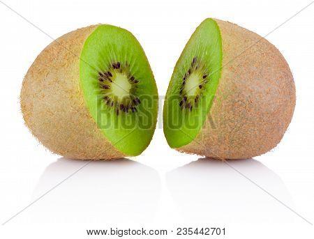 Two Half Of Ripe Juicy Kiwi Fruit Isolated On White Background
