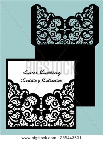 Wedding Invitation Or Greeting Card With Abstract Ornament. Vector Envelope Template For Laser Cutti