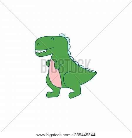 Funny Dino Cartoon Vector Illustration. Cheerful Animal For Kids Apparel Print Isolated On White.