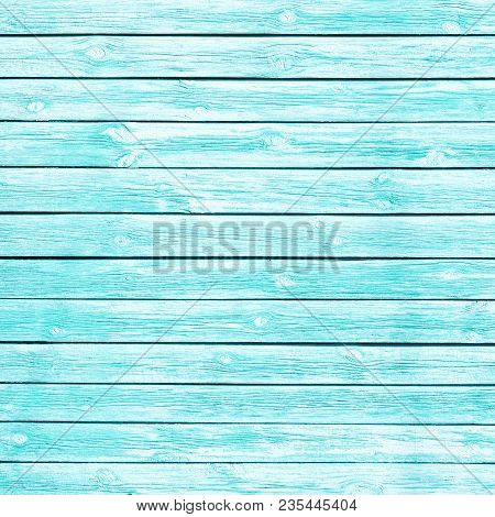 Old Wooden Planks Painted In Turquoise. Shabby Chic Background