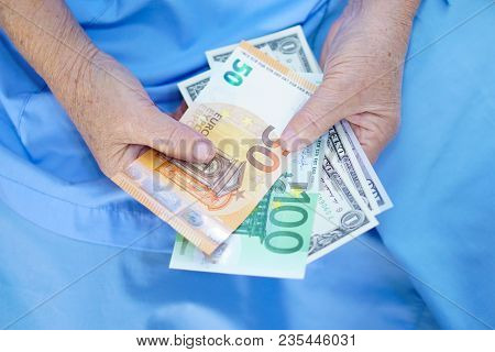 Asian Senior Or Elderly Old Lady Woman Patient Holding Worry Us Dollar Euro Banknotes Money Treatmen