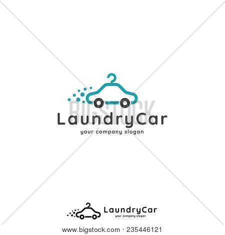 Laundry Logo Template. Car Hanger Design Concept For Car Wash, Laundry, App, Business Or Services. V