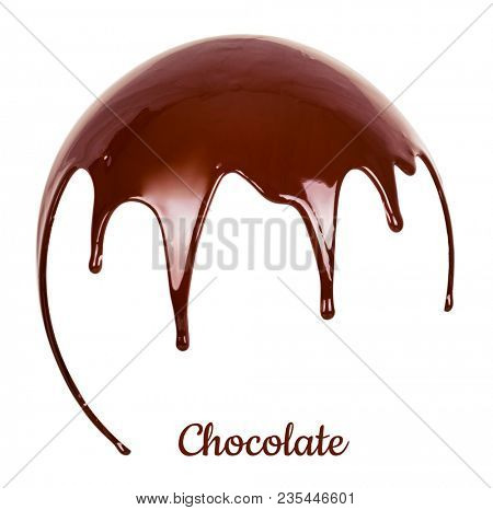 Melted chocolate syrup on white background. Liquid chocolate on a white background.