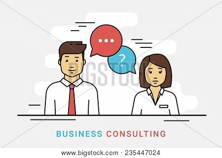 Business Consulting And Corporate Solution. Flat Line Vector Contour Illustration Of Business Woman