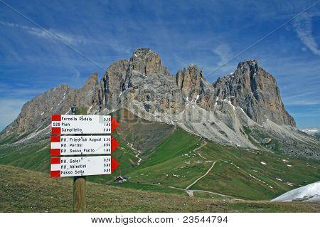 Sasso Lungo Mountain Landscape Of The Dolomites Of Val Di Fassa