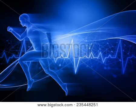 3D render of a male figure running on abstract techno background with heart rate