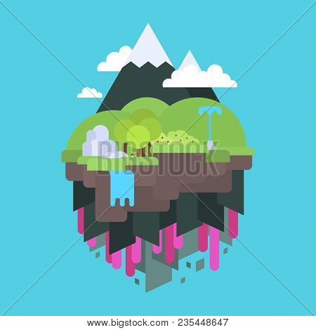 Floating Island In The Air, Flat Design Vector Illustration