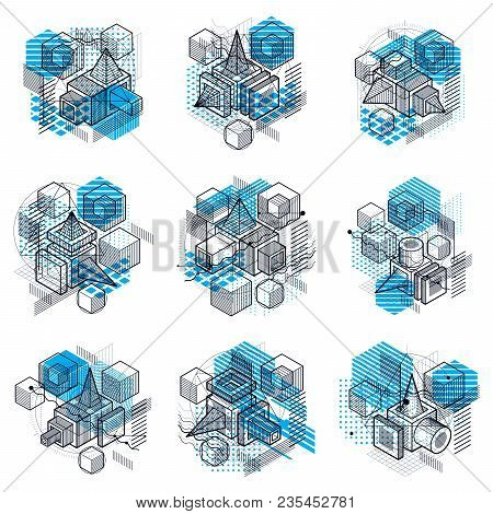 Isometric Linear Abstract Vector Backgrounds, Lined Abstractions. Cubes, Hexagons, Squares, Rectangl