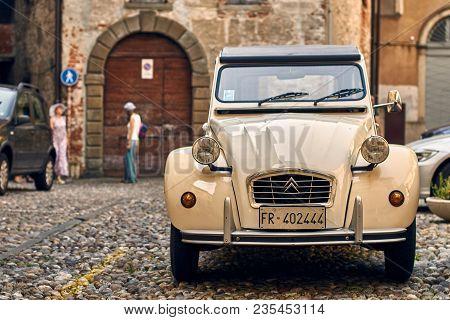Bergamo, Italy: July 08 2017 - Retro Beige Citroen 2 Cv 6 Charleston Car Released Circa 1980 In Fran
