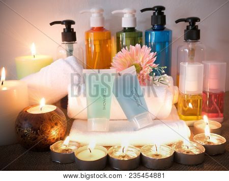 Body Care Products Set,shower,shampoo,gel Shampoo,oil,lotion,towel With Candle. Spa Concept.healthy