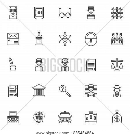 Justice Outline Icons Set