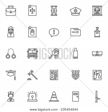 Justice And Law Outline Icons Set. Linear Style Symbols Collection, Line Signs Pack. Vector Graphics