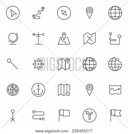 Location Outline Icons Set. Linear Style Symbols Collection, Line Signs Pack. Vector Graphics. Set I