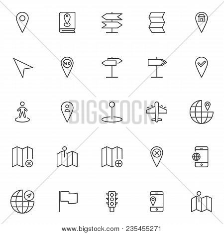 Location And Navigation Outline Icons Set. Linear Style Symbols Collection, Line Signs Pack. Vector