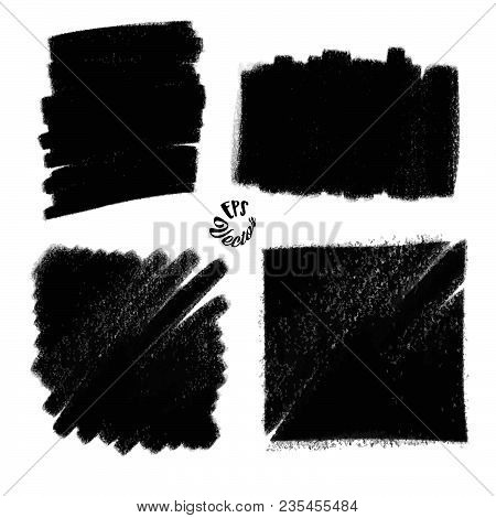 Four Charcoal Painted Backgrounds. Set Of Black Painted Strokes. Beautiful Hand Drawn Vector Drawing