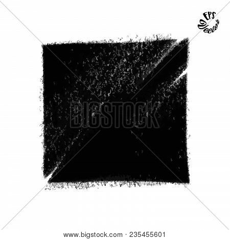 Charcoal Painted Box Background. Beautiful Hand Drawn Vector Drawing. Usable For Website, Social Med