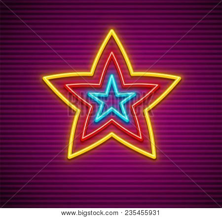 Neon Star Sign. Signboard Made Of Neon Lamps With Illumination On Striped Background. Eps10 Vector I