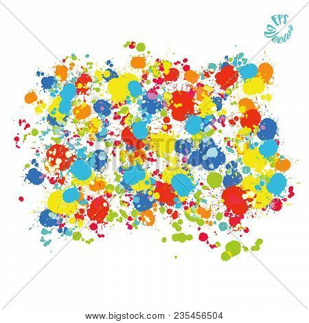 Colorful Painted Vector Background Drops. Beautiful Hand Drawn Backdrop. Usable For Website, Social