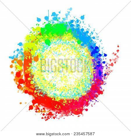 Colorful Rich Painted Background Circle . Beautiful Hand Drawn Backdrop. Usable For Website, Social