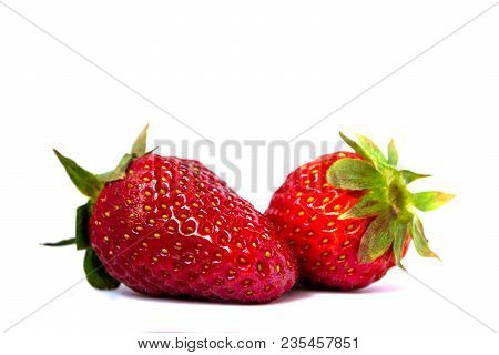Fresh red Strawberrys isolated on white background. poster