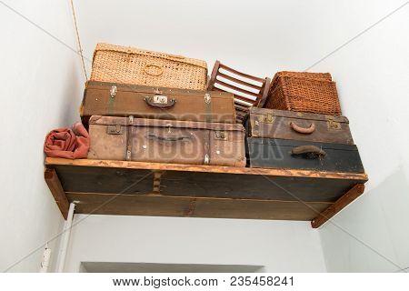 Vintage Ancient Luggage Suitcases Ancient Storage Concept