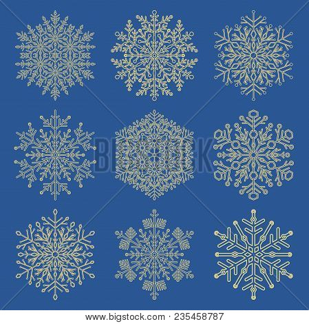 Set Of Vector Snowflakes. Fine Winter Ornaments. Snowflakes Collection. Golden Snowflakes For Backgr