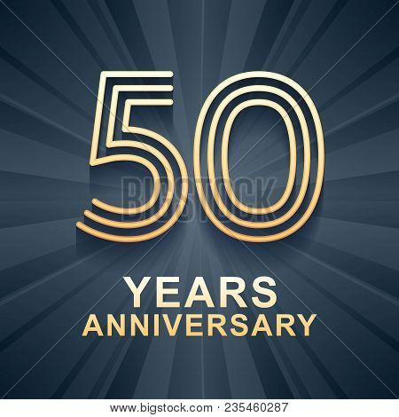 50 Years Anniversary Celebration Vector Icon, Logo. Template Design Element With Gold Color Age For