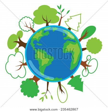 Green Planet, Globe With Trees Growing On It, Concept Of Vector Illustration About Ecology, Global W