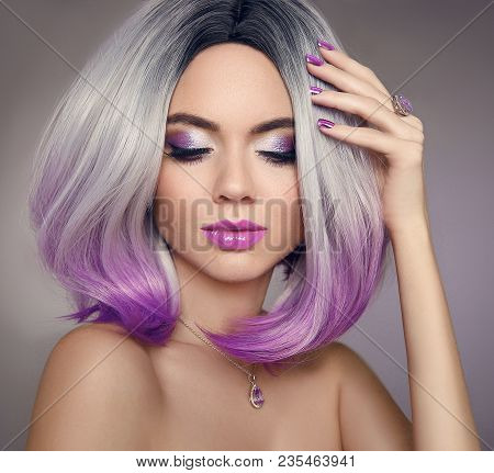 Ombre Bob Short Hairstyle. Beautiful Hair Coloring Woman. Trendy Haircuts. Blond Model With Short Sh