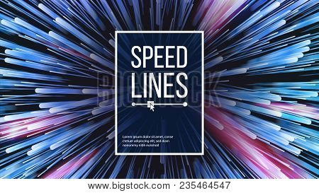 Abstract Speed Lines Vector. Motion Effect. Motion Background. Glowing Neon Composition. Illustratio