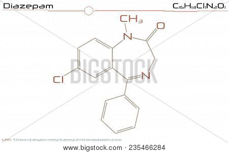 Large And Detailed Infographic Of The Molecule Of Diazepam.