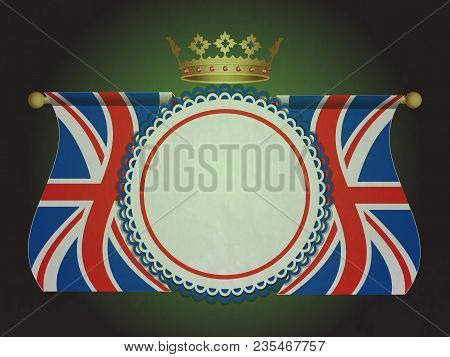 Union Jack Flags With Golden Crown And Rosette Blank Banner Over Black And Green Background