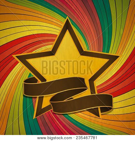 Vintage Yellow And Brown Star With Blank Banner Over Colourful Swirl Background
