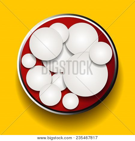 3d Illustration Of White Circles In A Red Metallic Border Over Yellow Background