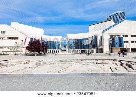 Bratislava, Slovakia - May 11, 2017: New Slovak National Theater Building In Bratislava, Slovakia. S