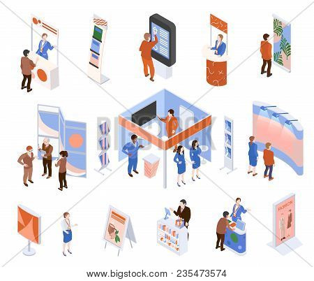Isometric Expo Trade Exhibition Set With People Looking At Promotional Stands Isolated On White Back