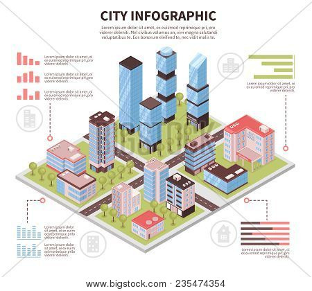 Modern City Business Center Offices District And Residential Area Buildings Infrastructure Isometric