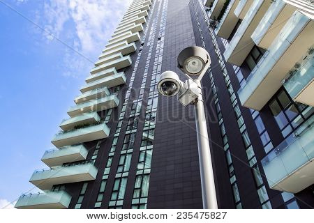 Milano , Italy 22 June 2017 :security Cctv Camera Or Surveillance System In Office Building . In Mod