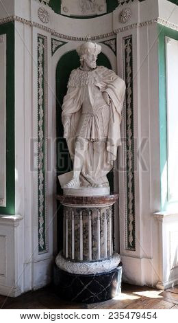 AMORBACH, GERMANY - JULY 08: Figures of the legendary founders and patrons of the abbey, Green Hall in Amorbach Benedictine abbey, Germany on July 08, 2017.