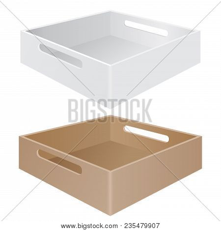 Tray Box With Grab Handles. White And Brown. Vector 3d Illustration Isolated On White Background